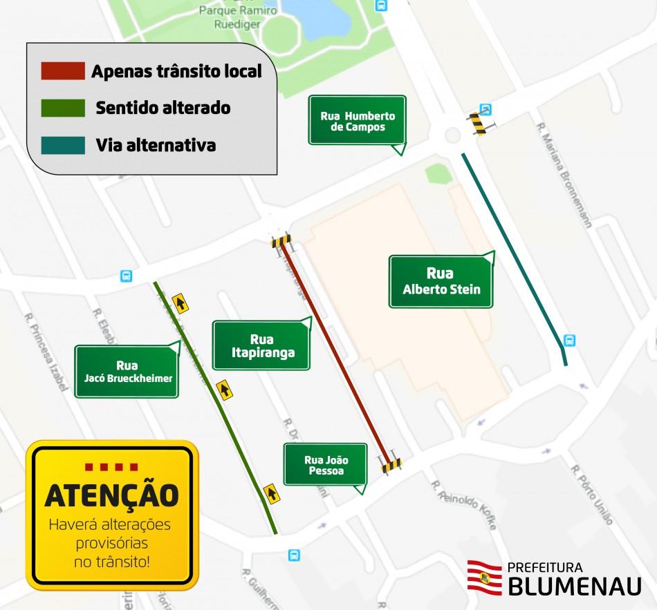 Rua Jacó Brueckheimer terá sentido invertido a partir de sábado