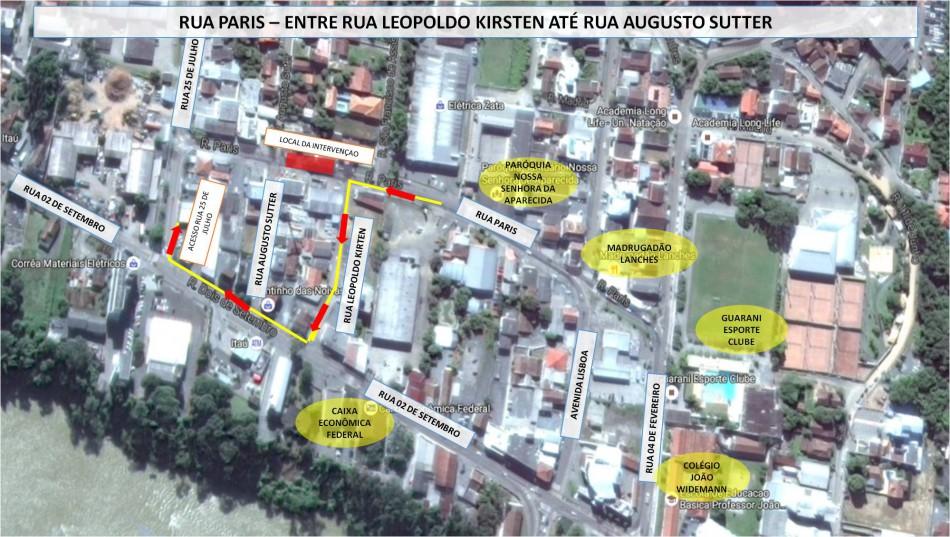Obras de esgoto alteram trânsito na Rua Paris neste final de semana