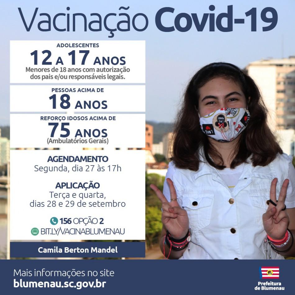 Blumenau reabre agendamento da vacina contra a Covid-19 para pessoas acima de 12 anos, população adulta e reforço para pessoas acima de 75 anos
