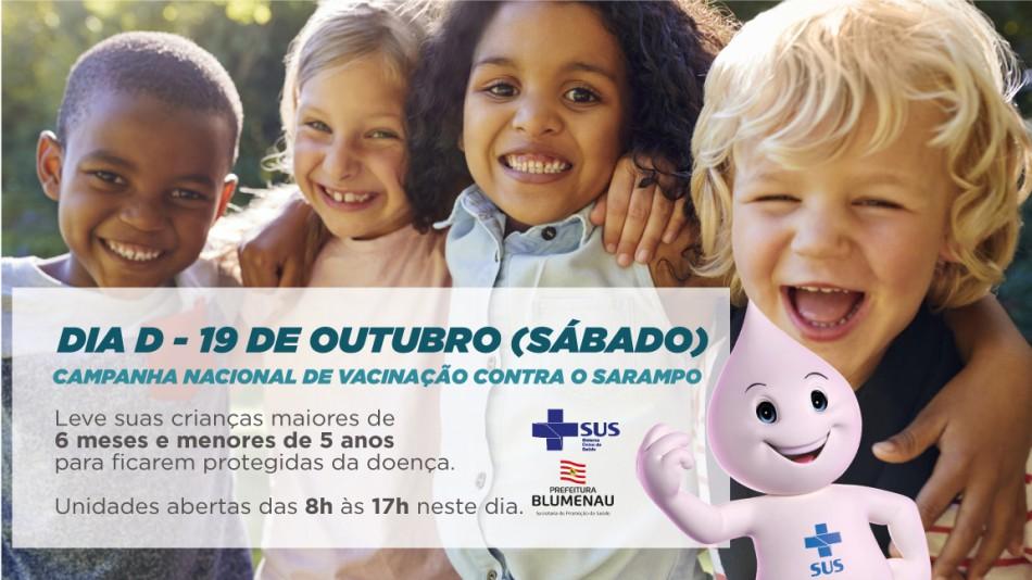 Unidades estarão abertas neste sábado, dia 19, para vacinar contra o sarampo