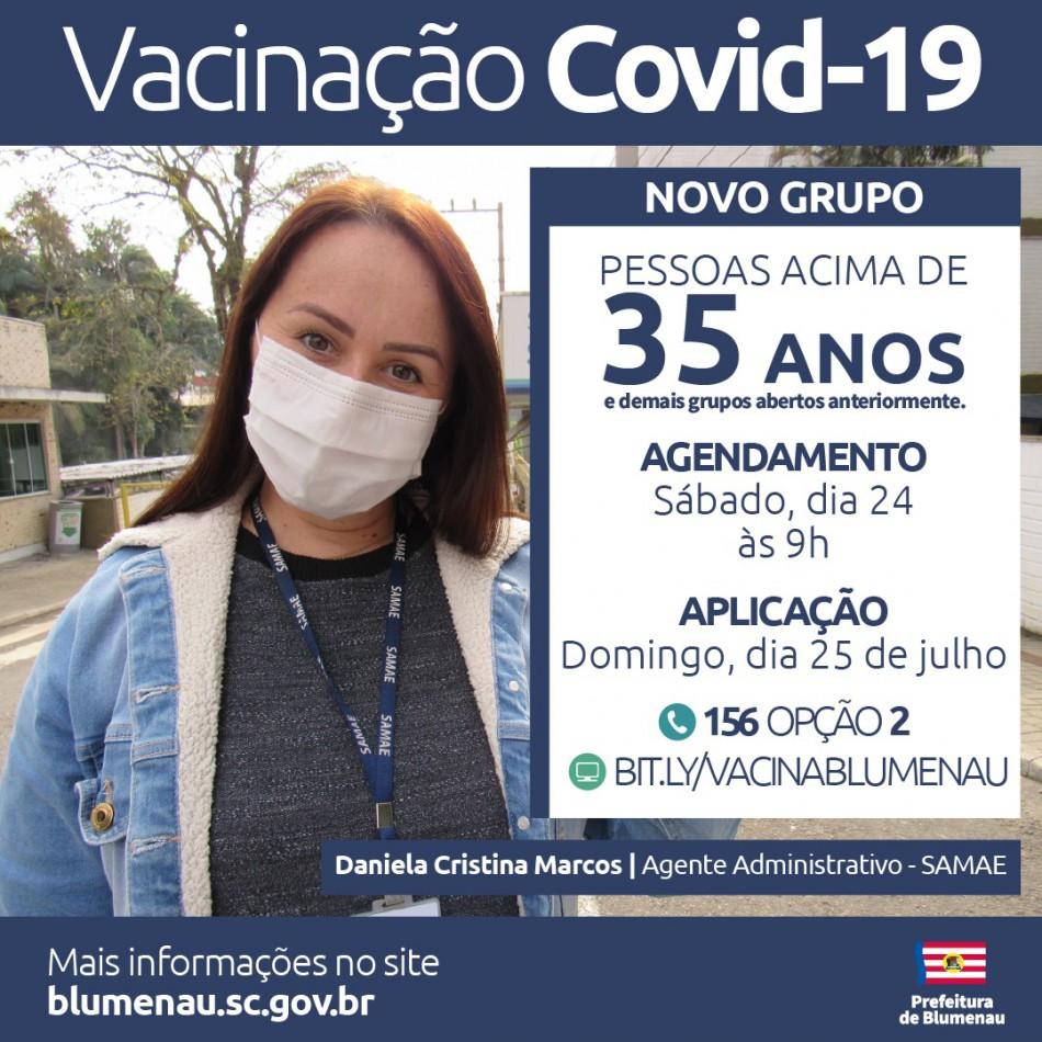 Blumenau amplia agendamento da vacina contra a Covid-19 para pessoas acima dos 35 anos e trabalhadores da indústria