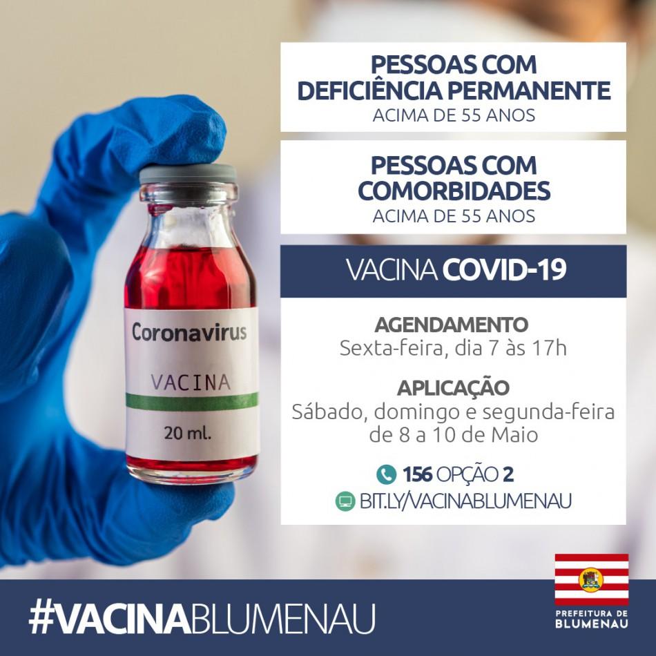 Blumenau abriu agendamento da vacina contra o Coronavírus para pessoas com comorbidades e deficiência permanente