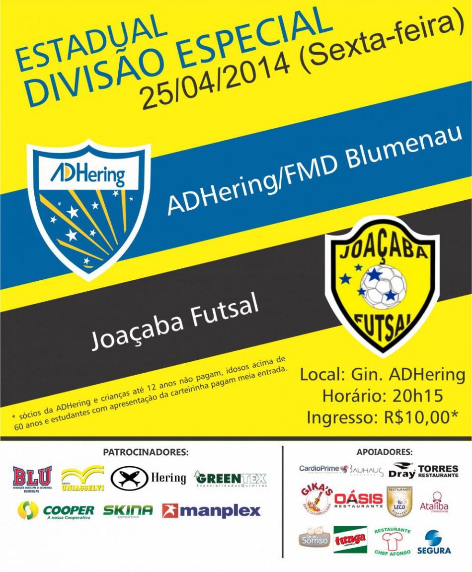 cadbf755b0 ADHering enfrenta o Joaçaba Futsal nesta sexta - Prefeitura de Blumenau