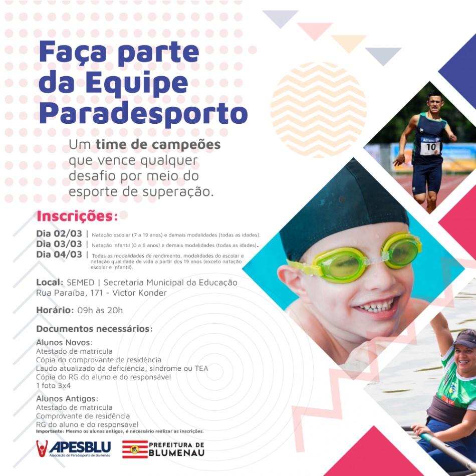 Inscrições do Paradesporto blumenauense iniciam no dia 2 de março