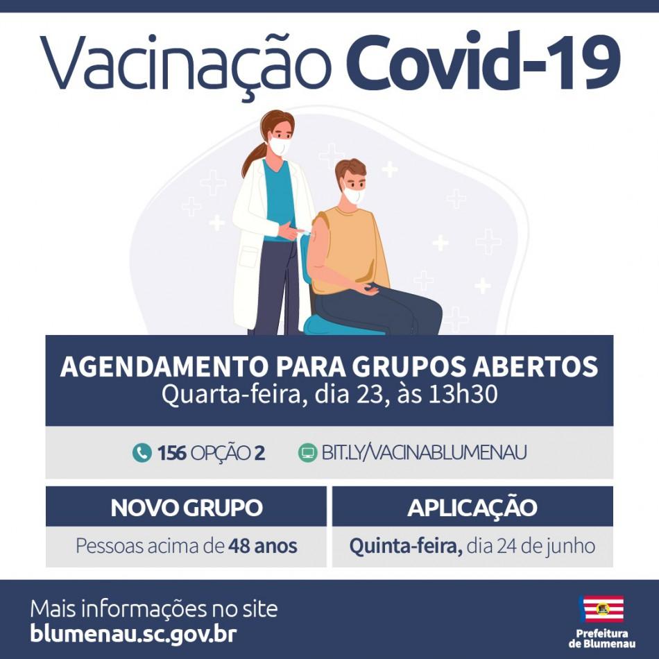 Blumenau amplia agenda de vacinação contra a Covid-19 para pessoas acima dos 48 anos