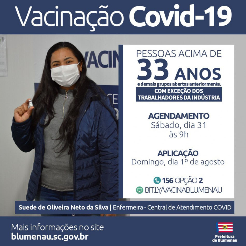 Blumenau reabre agendamento da vacina contra a Covid-19 para pessoas acima dos 33 anos e outros grupos