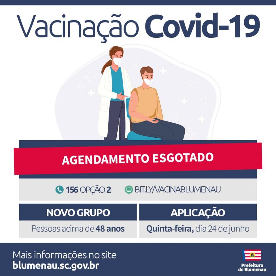 Agenda de vacinação contra a Covid-19 para quinta-feira, 24, tem vagas preenchidas em Blumenau