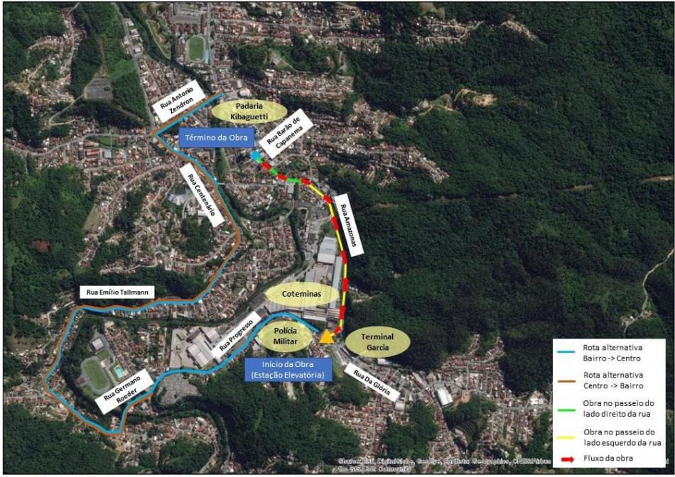Obra de esgoto no sábado interdita temporariamente dois acessos à Rua Amazonas no Garcia
