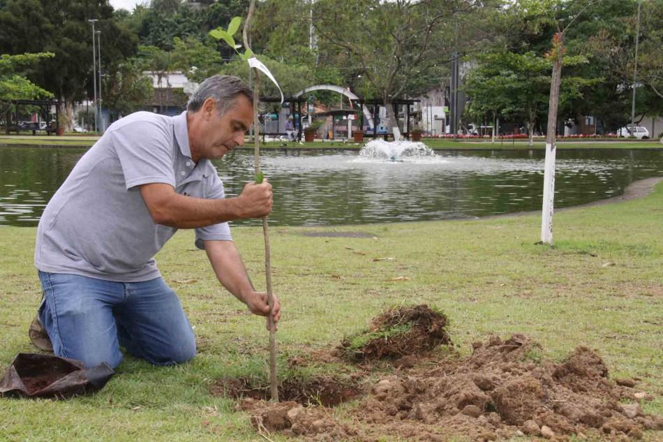 Semmas planta mudas em comemoração ao Dia da Árvore