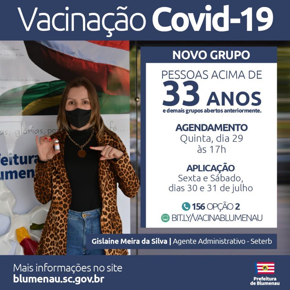 Blumenau amplia agendamento da vacina contra a Covid-19 para pessoas acima dos 33 anos e outros grupos