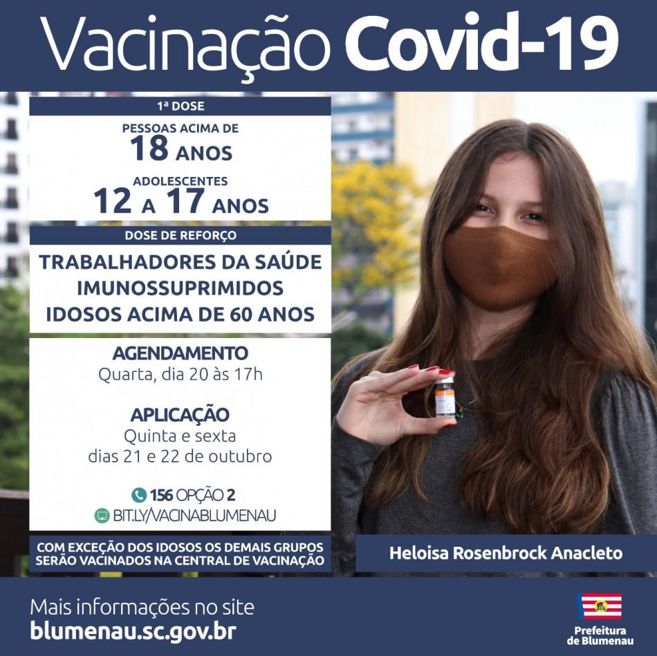 Blumenau amplia agendamento da vacina contra a Covid-19 para adolescentes, dose de reforço para idosos acima de 60 anos e outros grupos