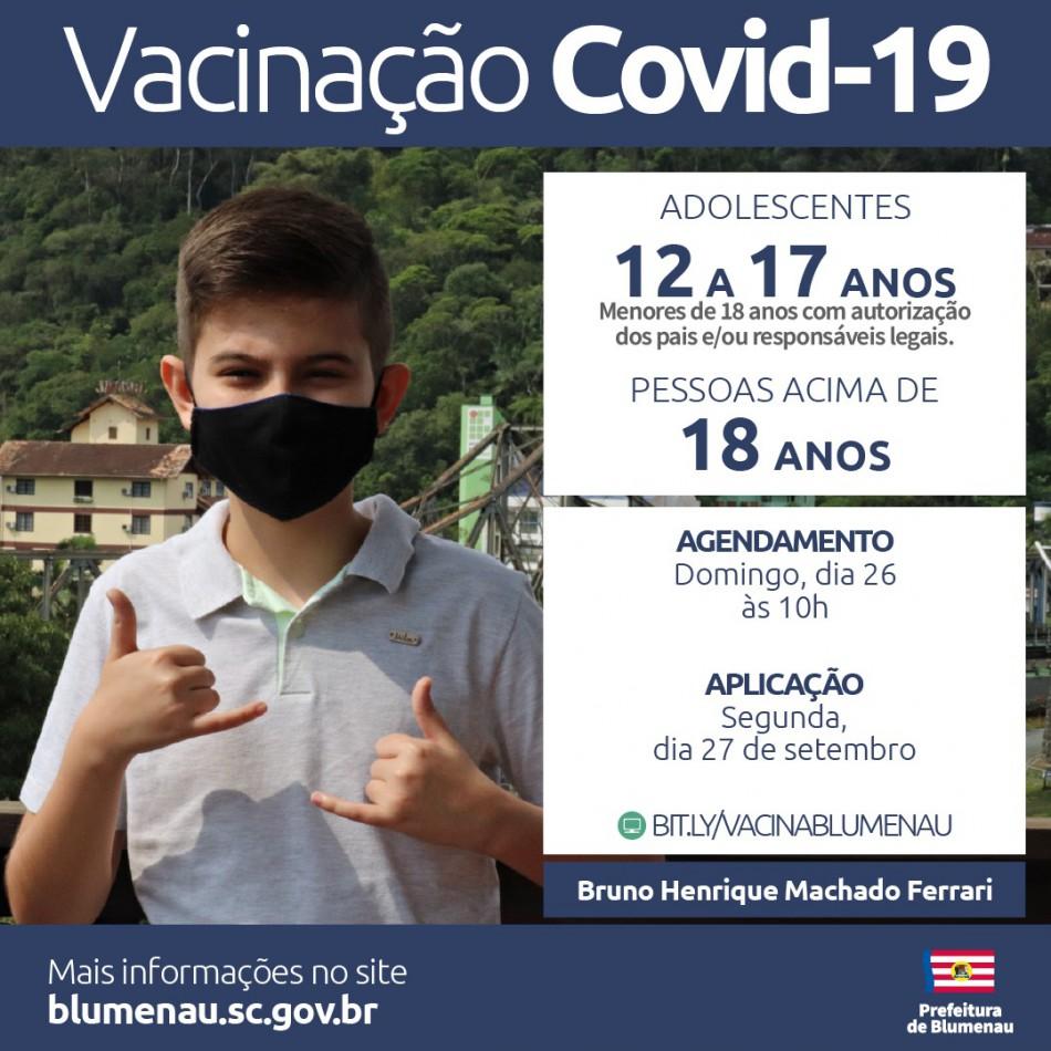 Blumenau reabre agendamento da vacina contra a Covid-19 para pessoas acima de 12 anos e população adulta