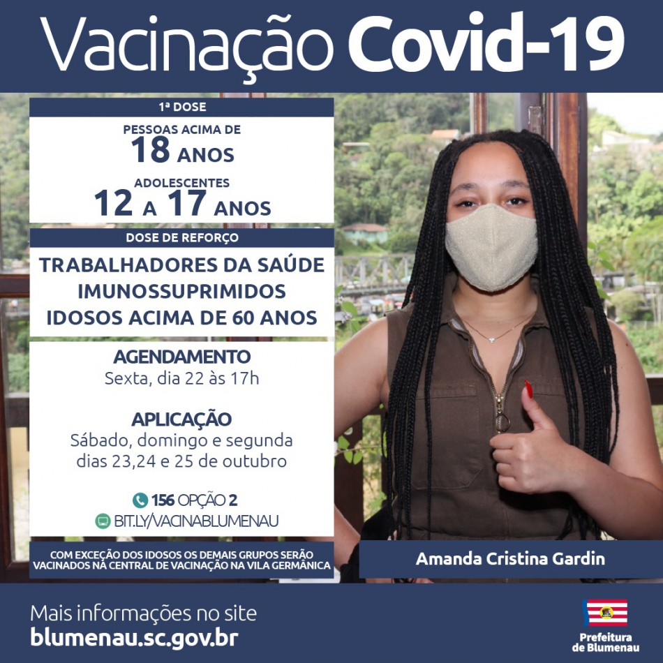 Blumenau reabre agendamento da vacina contra a Covid-19 para adolescentes, dose de reforço para idosos acima de 60 anos e outros grupos