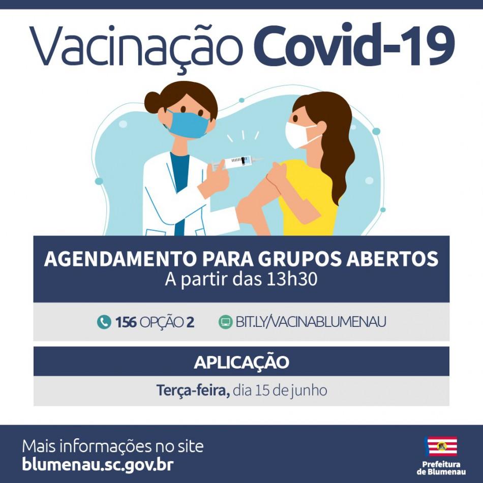 Prefeitura de Blumenau reabre agenda de vacinação contra a Covid-19 para pessoas acima dos 53 anos
