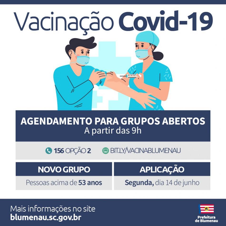 Agenda para vacinação contra a Covid-19 chega aos 53 anos em Blumenau