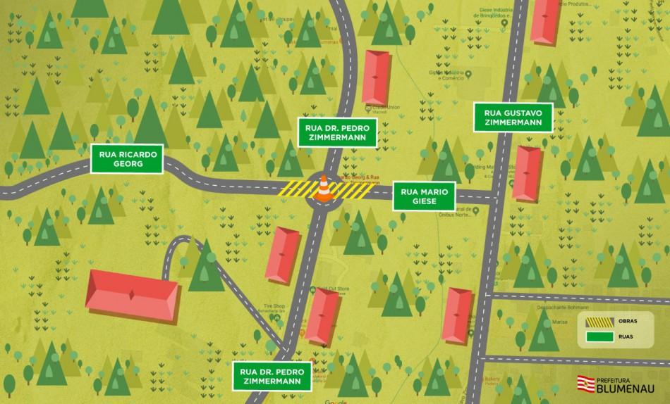 Obra em rotatória na Itoupava Central requer atenção dos motoristas